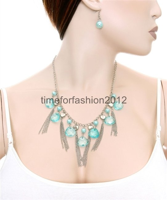 FASHION NECKLACE, EARRING SET SUPER CHIC AND SEXY CHAIN WITH PEARL STONES AQUA BLUE