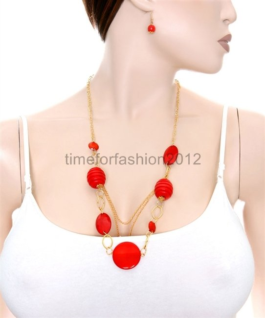 FASHION NECKLACE, EARRING SET SUPER CHIC AND SEXY GOLD CHAIN WITH RED BEADS AND STONES