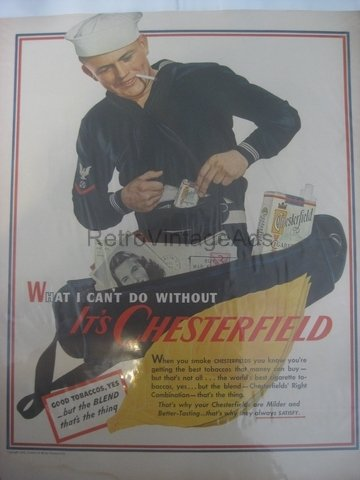 CHESTERFIELD WWII 2 Army War Vintage Magazine Ad POSTER Gift Unique Retro