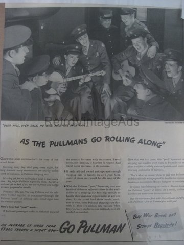 GO PULLMAN WWII 2 Army War Vintage Magazine Ad POSTER Gift Unique Retro