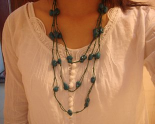 Green National Tibet Turquoise Necklace A-023 N023