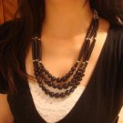Black National Tibet three layer bead necklace E-003 N026