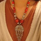 National characteristics of Tibet red button bead alloy half disc Necklace F-39 N048