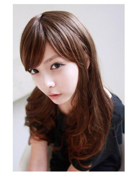 Free Shipping high quality Guarantee100% Hot-sales brand new  wig W027 Oblique bangs long hair
