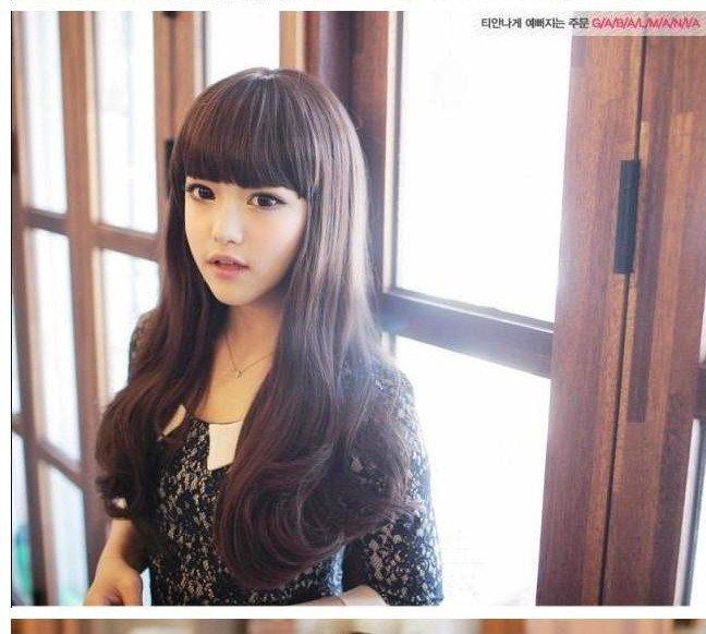 Free Shipping high quality Guarantee100% Hot-sales brand new  wig W034 Qi bangs long curly hair