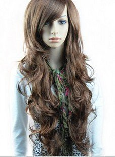 Free Shipping high quality Guarantee100% Hot-sales brand new  wig W043 Oblique bangs long hair
