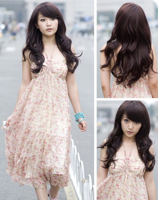 Free Shipping high quality Guarantee100% Hot-sales brand new  wig W054 Oblique bangs long hair