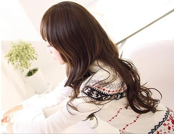 Free Shipping high quality Guarantee100% Hot-sales brand new  wig W055 Oblique bangs long hair