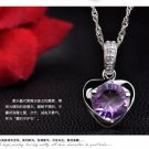 Free Shipping high quality 925Sterling Silver Guarantee100% Amethyst Heart NecklaceN008