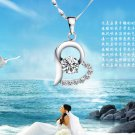 Free Shipping high quality 925Sterling Silver Guarantee100% Double Heart Pendant Necklace  N038