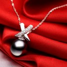 Free Shipping high quality 925SterlingSilverGuarantee100%Hackers Shell Pearl Pendant Necklace N047