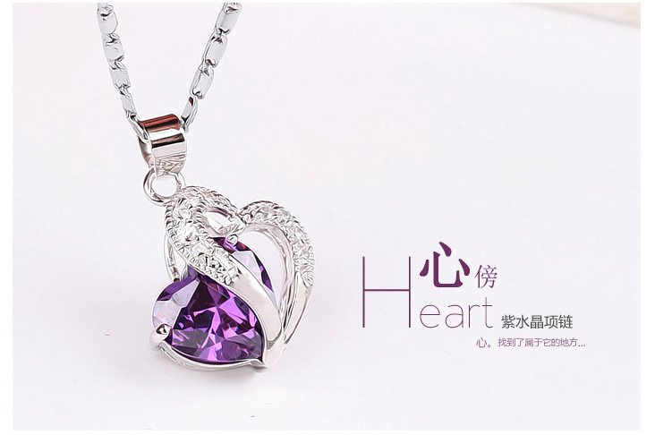 Free Shipping high quality 925Sterling Silver Guarantee100%Heart Bang crystal necklace N051