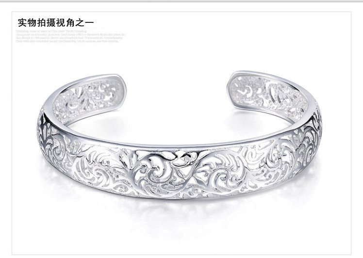 Free Shipping high quality 925Sterling Silver Guarantee100% Retro court hollow Bracelet  B035