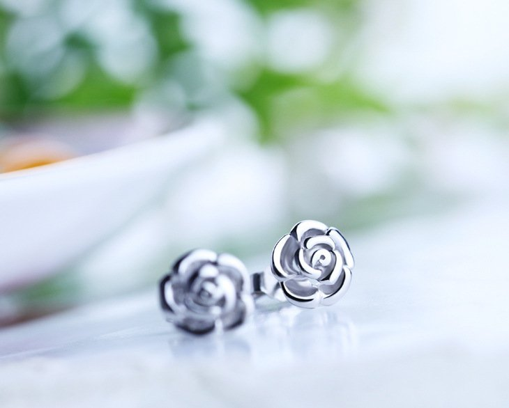 Free Shipping high quality 925Sterling Silver Guarantee100% Fashion Rose Flower Stud Earrings E003