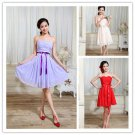 Ruffle Sash Strapless Party Dress Hot&Sexy Evening Dresses Fashion A-Line