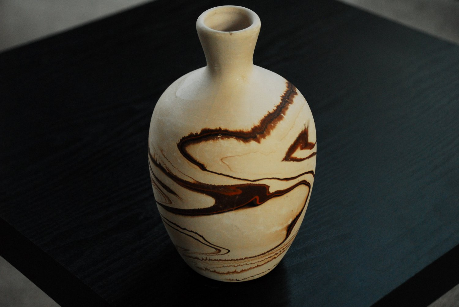 "NEMADJI POTTERY VASE -- 8"" TALL -- BEAUTIFUL SHADES OF BROWN -- AUTHENTIC"