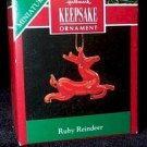 Hallmark 1990 Ruby Reindeer Miniature Ornament