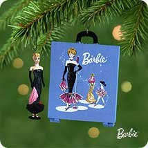 Hallmark 2001 Solo Spotlight Barbie and Travel Case Set of 2  Miniature Ornaments