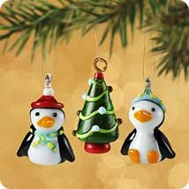 Hallmark 2002 Two Tiny Penguins Set of 3 Miniature Ornaments