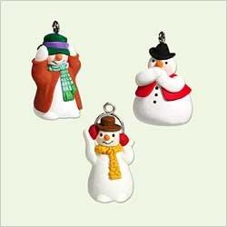 Hallmark 2005 See No Humbug set of 3 Miniature Snowman Christmas Ornaments