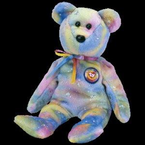 Clubby VI 6 the Bear Rainbow Ty Beanie Baby Retired 6eaf4ffd99e6