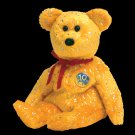 Decade the Bear Gold Ty Beanie Baby Retired