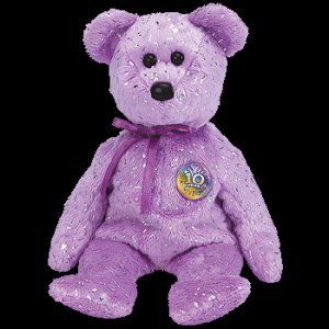 Decade the Bear Purple Ty Beanie Baby Retired