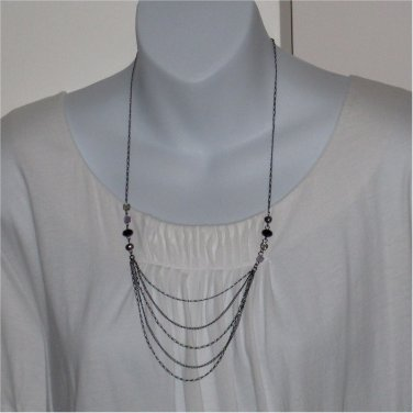 J.Jill Delicate Swag Necklace   Amethyst, Pearls & Hematite  JJILL J Jill