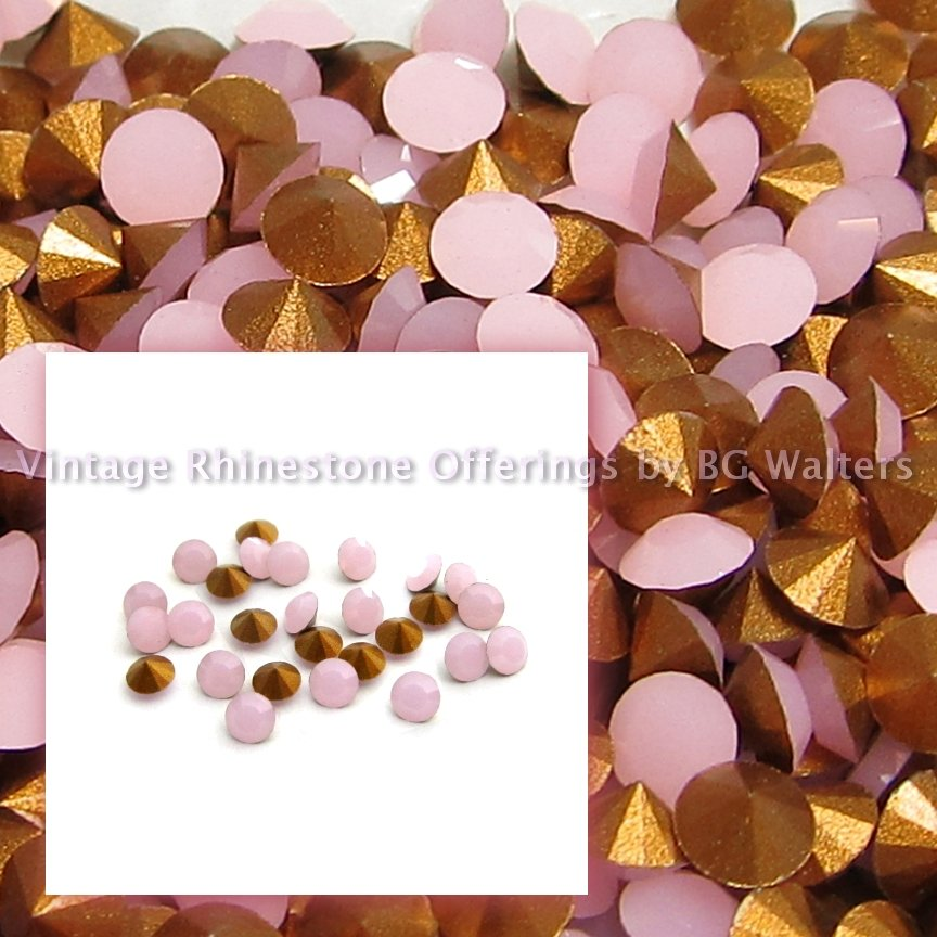 24 Swarovski 24pp Rose Alabaster Chatons Article 1012 GF Crystal Rhinestones Lot