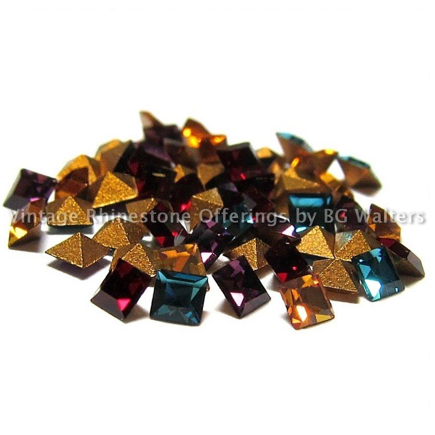 50 Swarovski 2mm Squares Vintage Article 4401 Crystal Rhinestones Mixed Lot