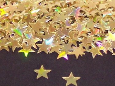 """GOLD HOLOGRAPHIC  STARS 1/4"""""""