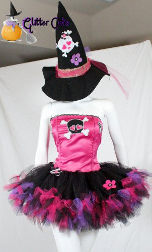 3pc Cute Pretty Punk skul Witch Tutu Petticoat Costume Fuchsia Black glitter S M