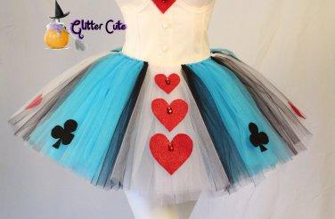 Cute Alice in wonderland queen of hearts blue white red tutu costume skirt 1 sz