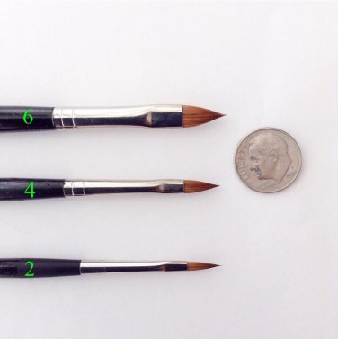 3D kolinsky brushes set #2,4,6