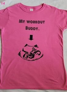 My workout buddy baby bump pregnancy maternity gym crossfit pink tshirt top L