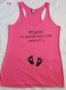 Relax I can workout baby bump pregnancy maternity gym crossfit pink tank top M