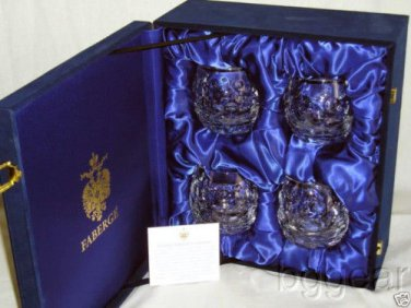 Faberge Crystal Old Fashion Bubble Glasses set of 4 NIB