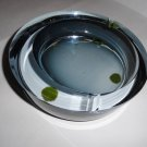 blue heavy glass  ashtray signed