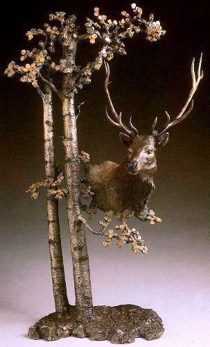 "Mark Hopkins Bronze Sculpture  ""Among the Aspen"" 22 in."