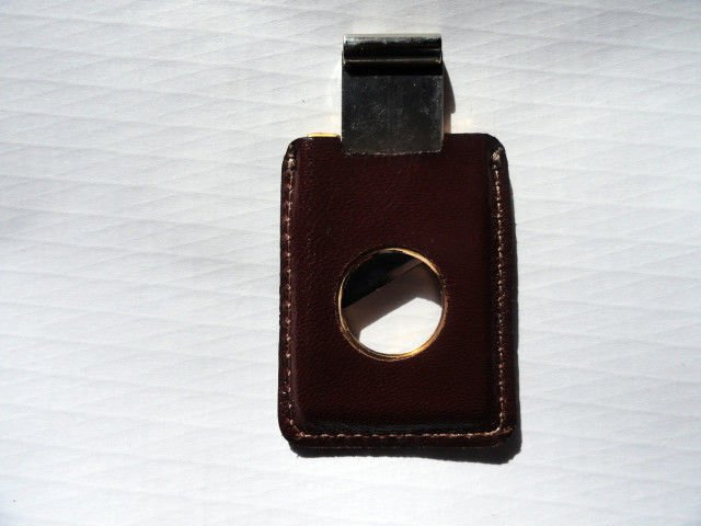 Pheasant by R.D.Gomez Stainless Steel Cigar Cutter CABRA Brown  Leather BNIB