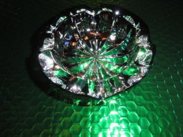 St Louis Ambassadeur Emerald Green  Crystal Glass Ashtray France Signed