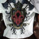 Retrofit Medium Short Sleeve Shirt White with Embroidery Front & Back