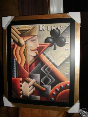 Cigar Poker Art Deco Poster by Michael Kungl - custom framed
