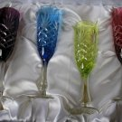 Faberge Crystal Colored Champagne Flutes in presentation box set of 4 Glasses
