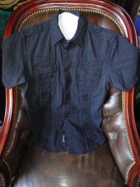Roar mens casual black embroidered shirt  Medium size