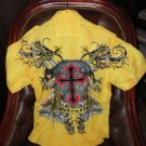 Retrofit  Large Short Sleeve Shirt Yellow  with Embroidery Front & Back