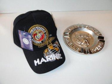 USMC Bulldog Ashtray & USMC Black Baseball Cap Combo