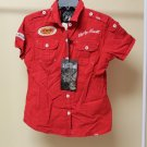 Women's Toxic Waste Red Short Sleeve Button Up Shirt Size Large