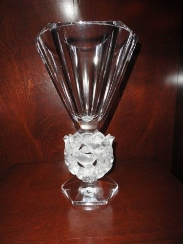Lalique Mesanges Vase French Art Glass Frosted Clear Crystal Birds Doves Flowers