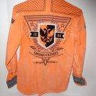 Mens ROAR Long Sleeve Button Down Shirt EAGLE PILOT Orange Wash